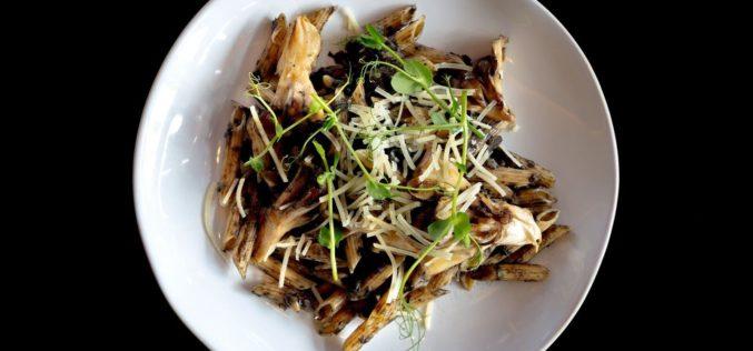 Penne con hongos, huitlacoche y aceite de trufa