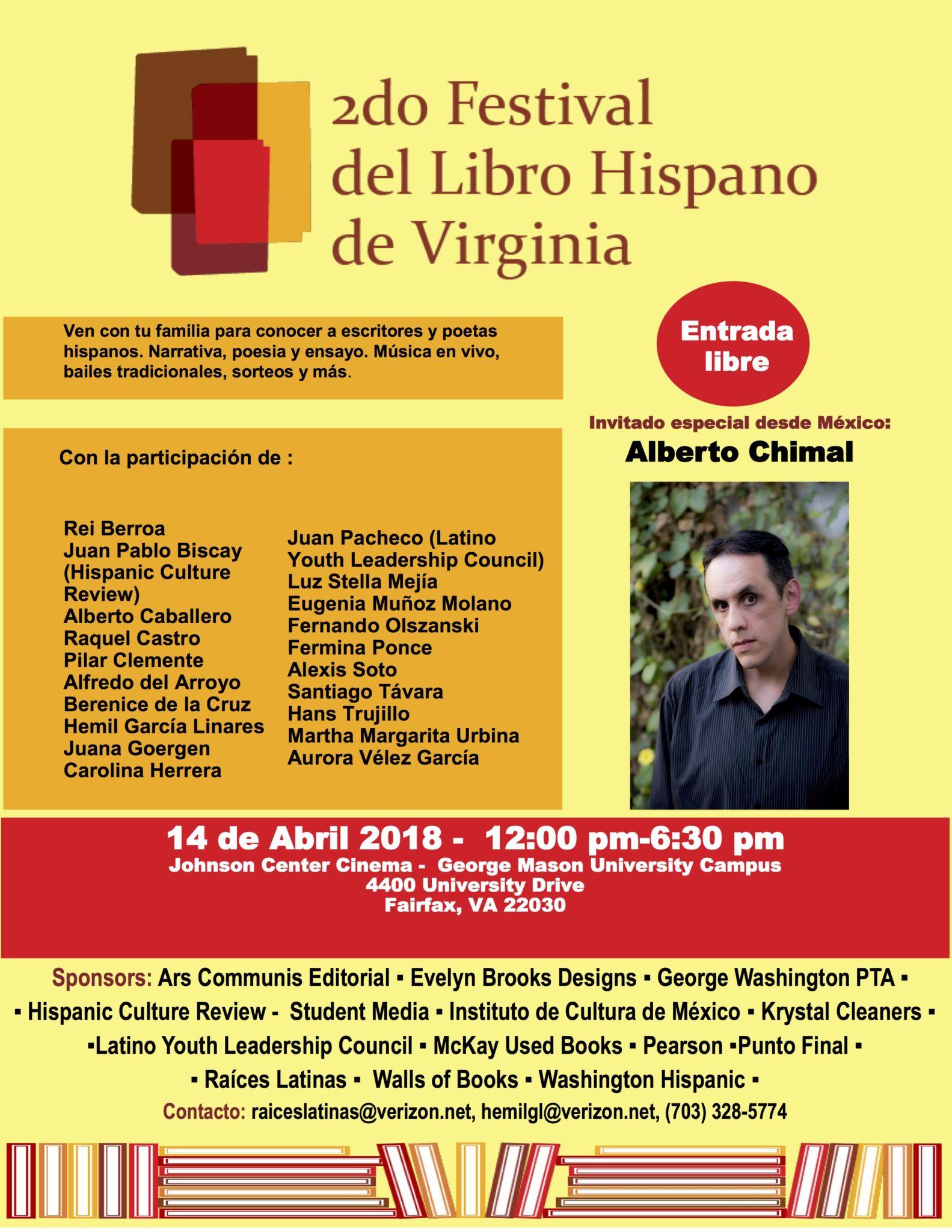 Segundo Festival del Libro Hispano de Virginia se realizará el 14 de abril